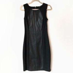 Blanc Noir Faux Leather Panel Dress